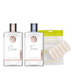 One & Four Shower Cream plus Konjac Sponge Gift Set
