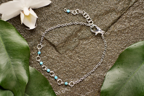 Turquoise with Stainless Steel Chain Bracelet