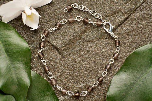 Smokey Quartz Stainless Steel Bracelet