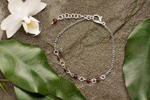 Garnet with Stainless Steel Bracelet