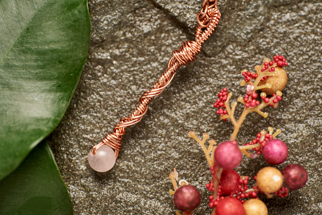 Save the Amazon Rose Quartz in Copper Long Charm Necklace