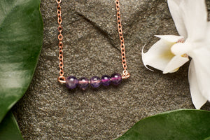 Straight Amethyst in Copper Necklace