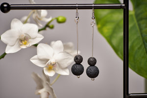 Lava Beads in Silver Long Earrings
