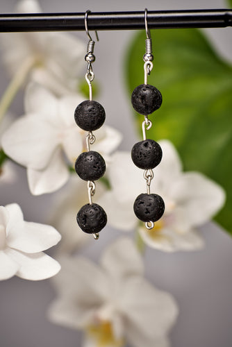 Triple Lava Bead Earrings in Silver