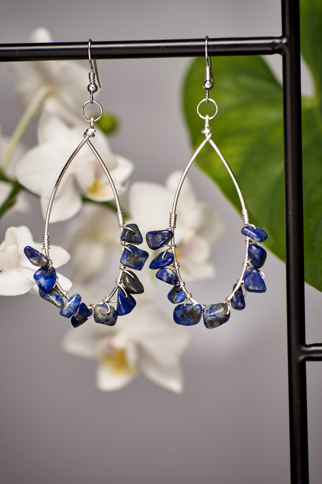 Large Teardrop Lapis Lazuli Earrings in Silver