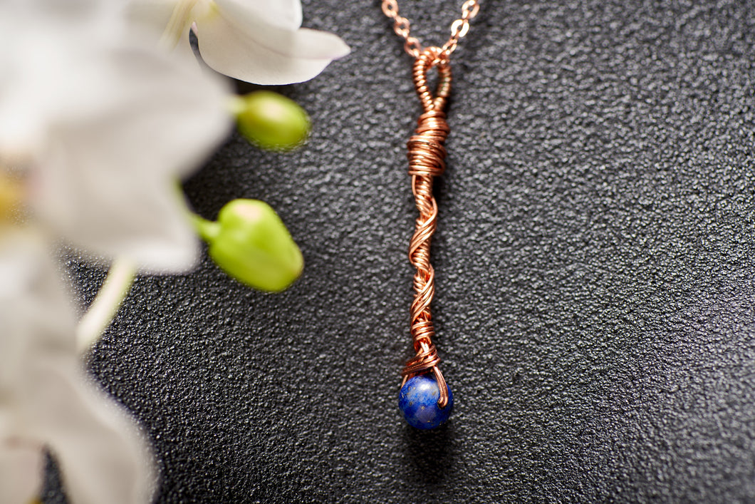 Lapis Lazuli in Copper Long Charm Necklace
