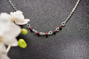Garnet Sterling Silver Chain Necklace