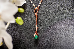 Malachite in Copper Long Charm Necklace