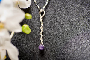 Amethyst in Silver Long Charm Necklace