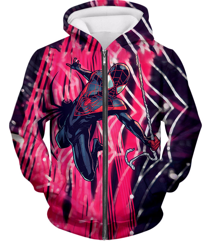 Amazing Black Spiderman Animated Action Zip Up Hoodie SP100