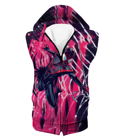 Image of Amazing Black Spiderman Animated Action Zip Up Hoodie SP100