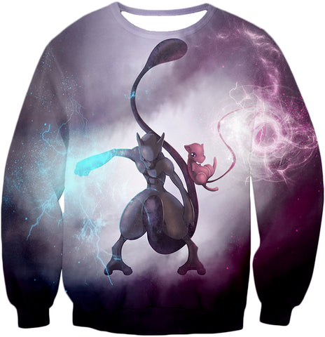 Image of Pokemon Legendary Psychic Pokemon Combination Mew and Mewto Cool Anime Sweatshirt PKM143