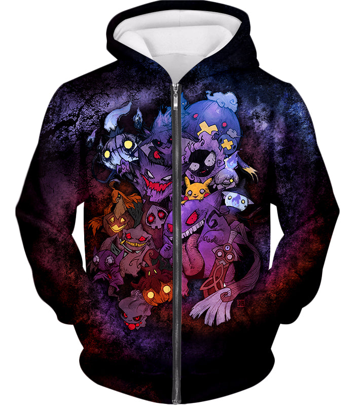 Pokemon Awesome All Zombie Type Pokemons Super Cool Graphic Zip Up Hoodie PKM148