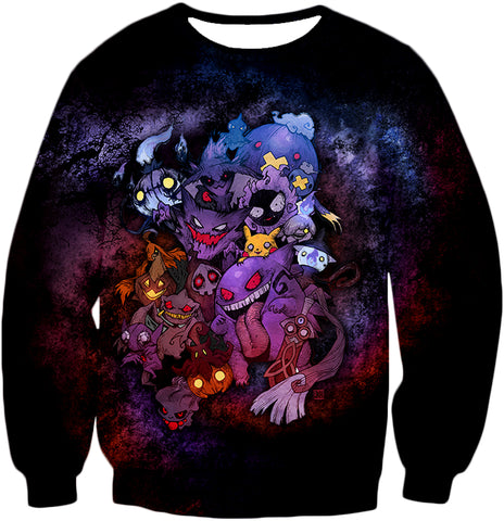 Image of Pokemon Awesome All Zombie Type Pokemons Super Cool Graphic Zip Up Hoodie PKM148