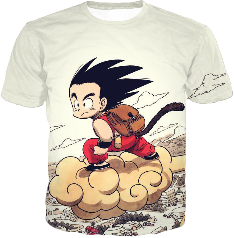 Dragon Ball Z T-Shirt - Kid Goku Riding Flying Nimbus