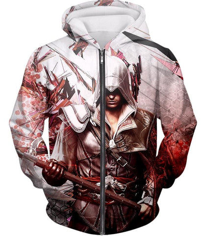 Ultimate Ezio Auditore Cool Action Assassin Hero Graphic Hooded Tank Top Ac016 - Zip Up Hoodie / Us Xxs (Asian Xs) - Hooded Tank Top