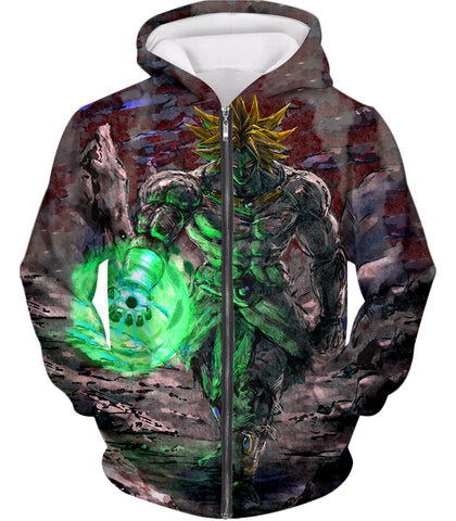 Dragon Ball Super Incredible Power Legendary Super Saiyan Broly Cool Blur Graphic Zip Up Hoodie DBS169