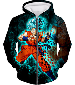 Dragon Ball Super Cool God Mode Goku Super Saiyan Blue Action Black Zip Up Hoodie DBS017