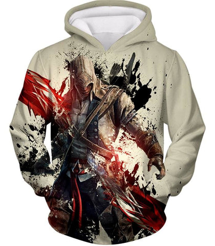 Ultimate Hero Ratonhnhake:ton Assassin Creed Iii Cool White Hooded Tank Top Ac019 - Hoodie / Us Xxs (Asian Xs) - Hooded Tank Top