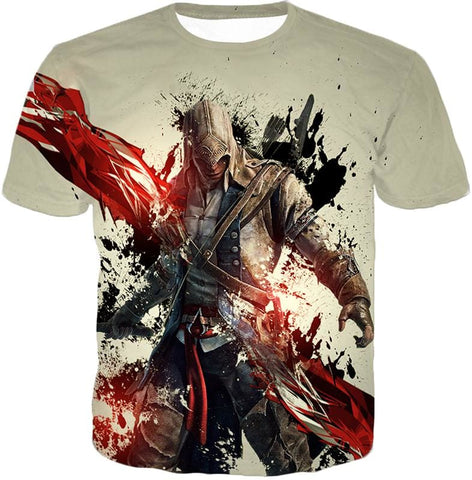 Ultimate Hero Ratonhnhake:ton Assassin Creed Iii Cool White Hooded Tank Top Ac019 - T-Shirt / Us Xxs (Asian Xs) - Hooded Tank Top