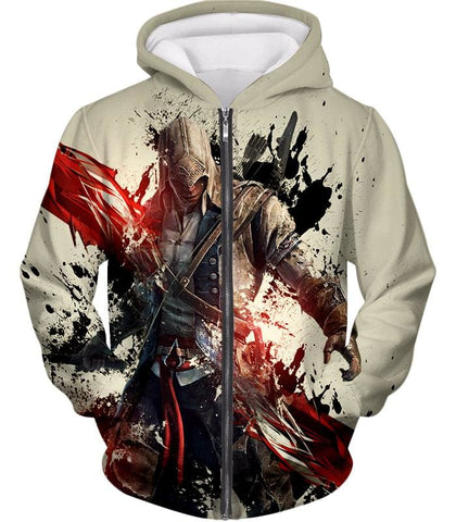 Ultimate Hero Ratonhnhake:ton Assassin Creed Iii Cool White Hooded Tank Top Ac019 - Zip Up Hoodie / Us Xxs (Asian Xs) - Hooded Tank Top