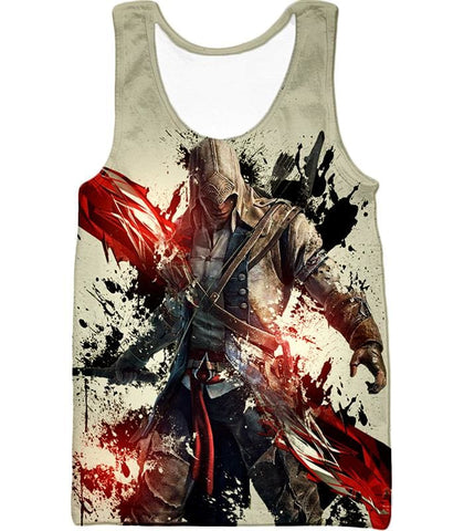 Ultimate Hero Ratonhnhake:ton Assassin Creed Iii Cool White Hooded Tank Top Ac019 - Tank Top / Us Xxs (Asian Xs) - Hooded Tank Top