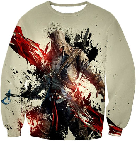 Ultimate Hero Ratonhnhake:ton Assassin Creed Iii Cool White Hooded Tank Top Ac019 - Sweatshirt / Us Xxs (Asian Xs) - Hooded Tank Top