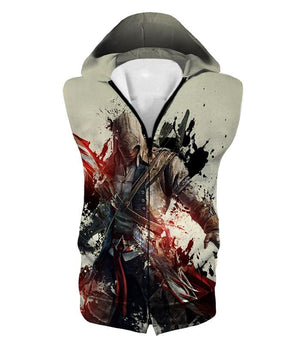 Ultimate Hero Ratonhnhake:ton Assassin Creed Iii Cool White Hooded Tank Top Ac019 - Hooded Tank Top / Us Xxs (Asian Xs) - Hooded Tank Top