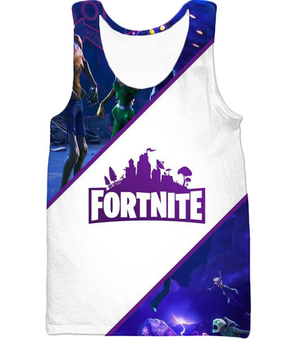 Image of Fortnite Tank Top White and Purple Promo