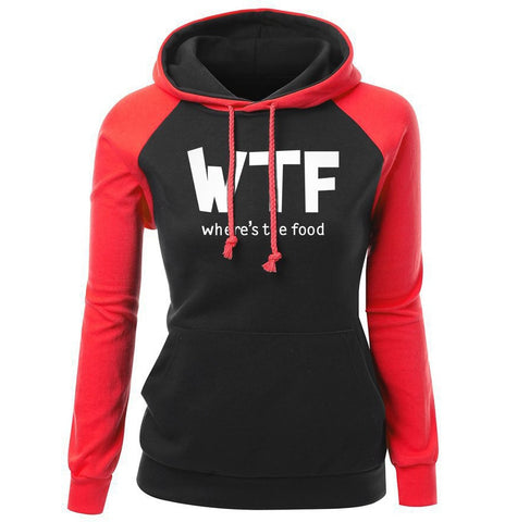 Letter Print WTF Where's The Food Funny Fashion Women's Hoodie