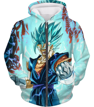 Dragon Ball Z Zip Up Hoodie - Super Saiyan Blue Vegito Power
