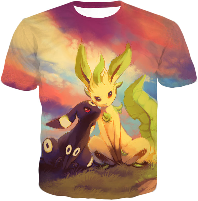 Pokemon Cute Wolf Pokemons Umbreon And Leafeon T Shirt Pkm030