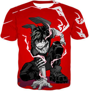 My Hero Academia Strong Hero Deku Izuki Midoriya Awesome Anime Red T-Shirt MHA092