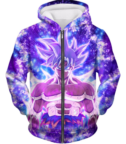 Dragon Ball Super Awesome Ultra Instinct Goku Cool Anime Promo Graphic Zip Up Hoodie DBS044