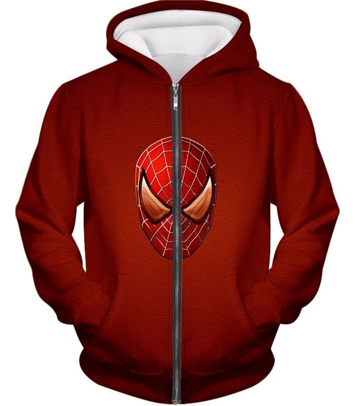 Amazing Spiderman Mask Promo Red Sweatshirt Sp045 - Zip Up Hoodie / Us Xxs (Asian Xs) - Sweatshirt