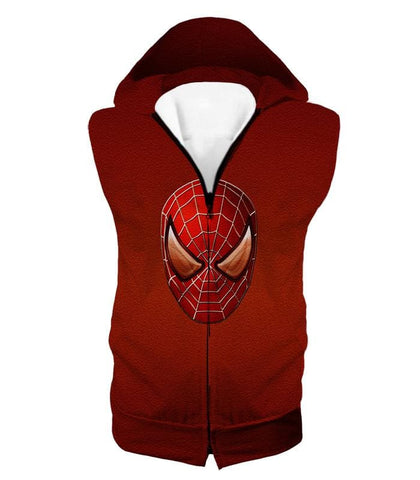 Image of Amazing Spiderman Mask Promo Red Sweatshirt Sp045 - Hooded Tank Top / Us Xxs (Asian Xs) - Sweatshirt