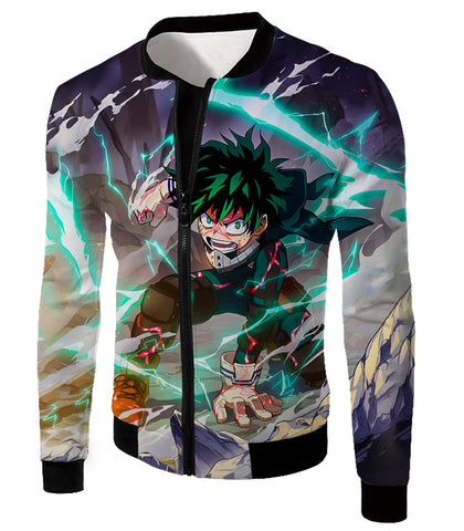 Image of My Hero Academia Ultimate Hero Izuki Midoriya aka Deku Super Cool Action Anime Zip Up Hoodie MHA102