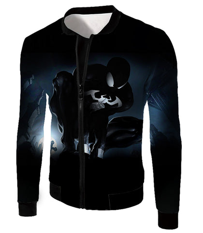 Image of Animated Black Spiderman Cool Action Zip Up Hoodie SP008