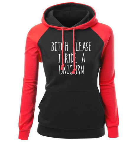 Image of Letter Print Bitch Please I Ride A Unicorn Fashion Women's Hoodie