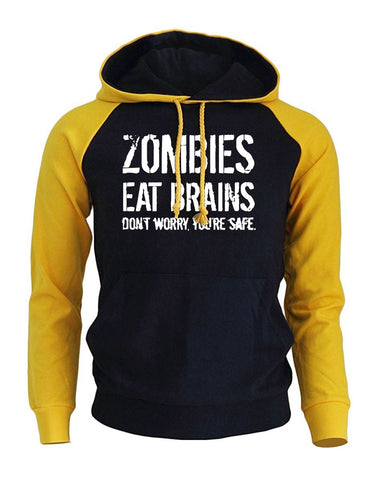 Zombies Eat Brains Funny Print Men's Hoodie