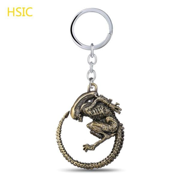 Alien High Quality Charm Retro Metal Alloy Pendant Keychain - Bronze Plated - Accessories