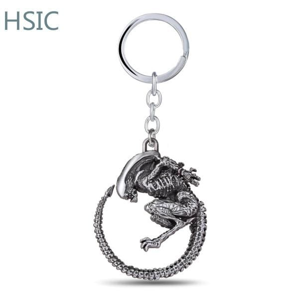 Alien High Quality Charm Retro Metal Alloy Pendant Keychain - Silver Plated - Accessories