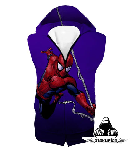 Image of Animated Web Shooter Spiderman Action Purple Jacket Sp039 - Hooded Tank Top / Us Xxs (Asian Xs) - Jacket