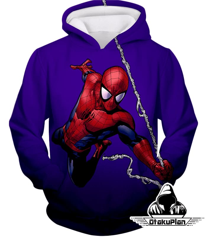 Animated Web Shooter Spiderman Action Purple Jacket Sp039 - Hoodie / Us Xxs (Asian Xs) - Jacket