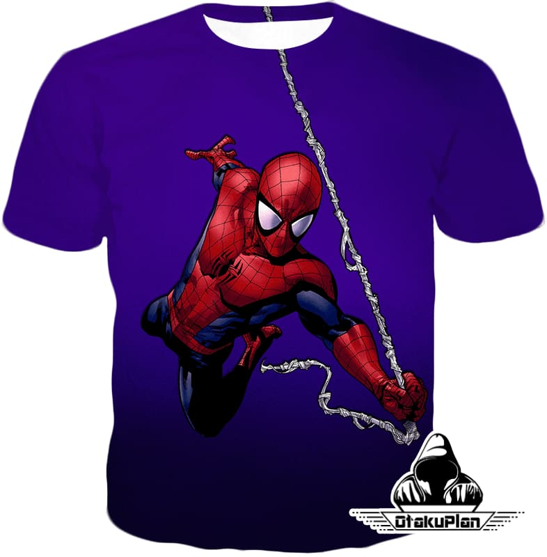 Animated Web Shooter Spiderman Action Purple Jacket Sp039 - T-Shirt / Us Xxs (Asian Xs) - Jacket