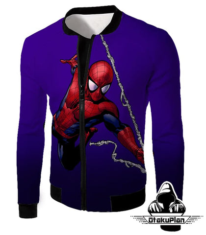 Image of Animated Web Shooter Spiderman Action Purple Jacket Sp039 - Jacket / Us Xxs (Asian Xs) - Jacket