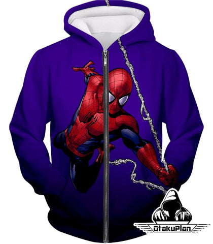 Image of Animated Web Shooter Spiderman Action Purple Jacket Sp039 - Zip Up Hoodie / Us Xxs (Asian Xs) - Jacket