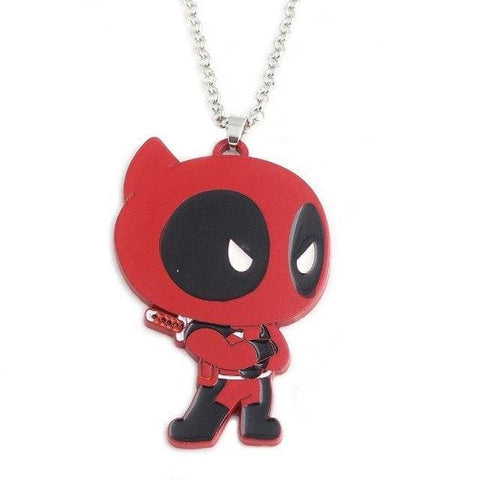 Image of Deadpool Figure Zinc Alloy Enamel Metal Pendant Keyring - Gray - Accessories