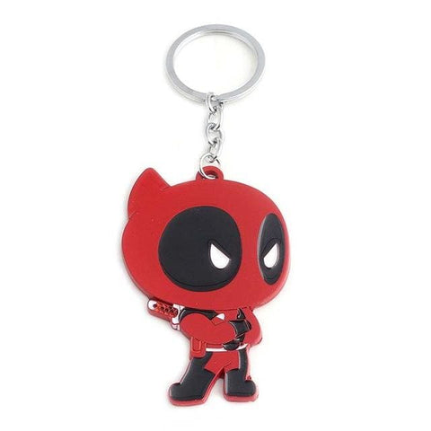 Image of Deadpool Figure Zinc Alloy Enamel Metal Pendant Keyring - Red - Accessories