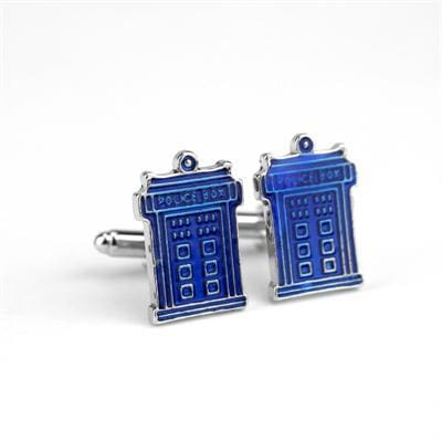 Image of Dr Who Blue Police Box &antique Golden Black Cufflinks - Blue - Accessories